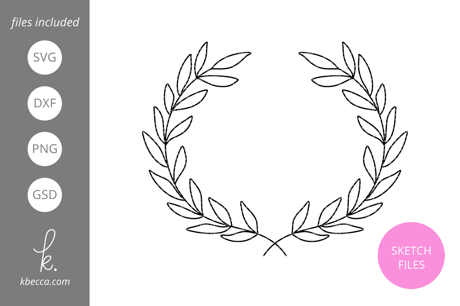 Foil Quill Sketch Laurel Wreath SVG File example image 1