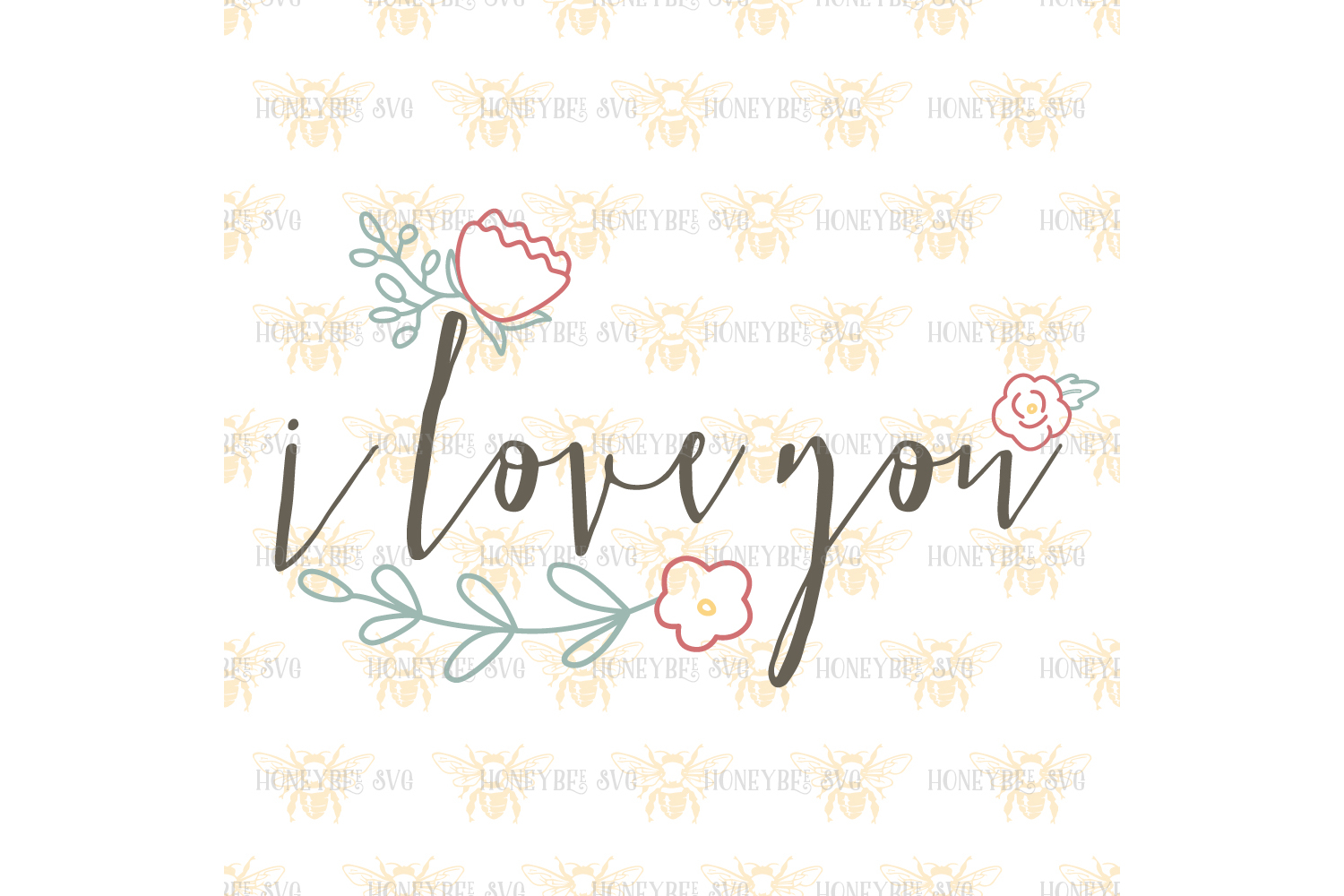 I Love You Simple Floral example image 2