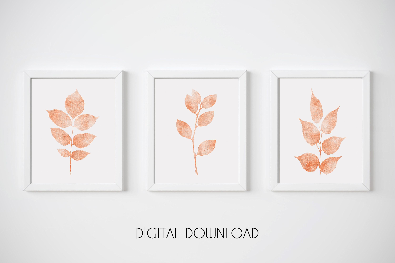 Coral Nursery Wall Art, Orange Botanical Print, Set of 3 example image 1