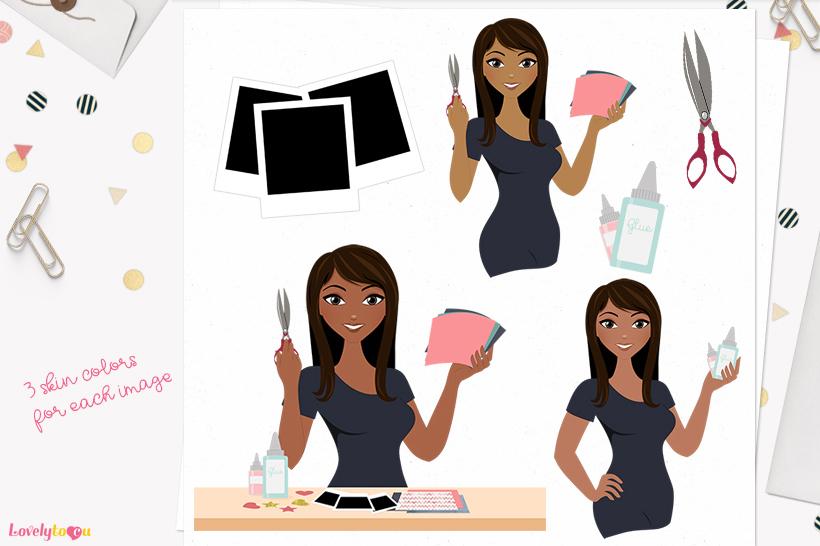 Woman scrapbooking character clip art L160 Zoe example image 1
