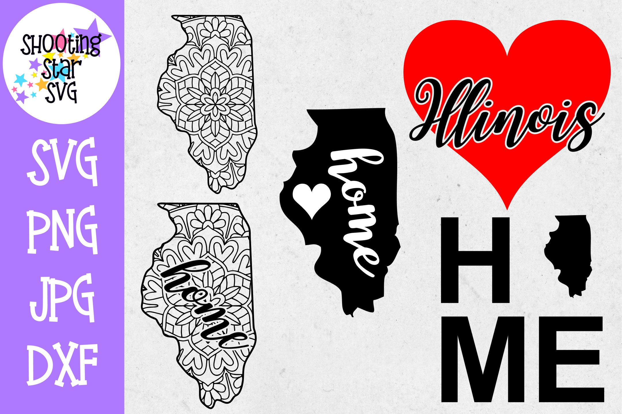 Illinois US State SVG Decal Bundle - 50 States SVG example image 1