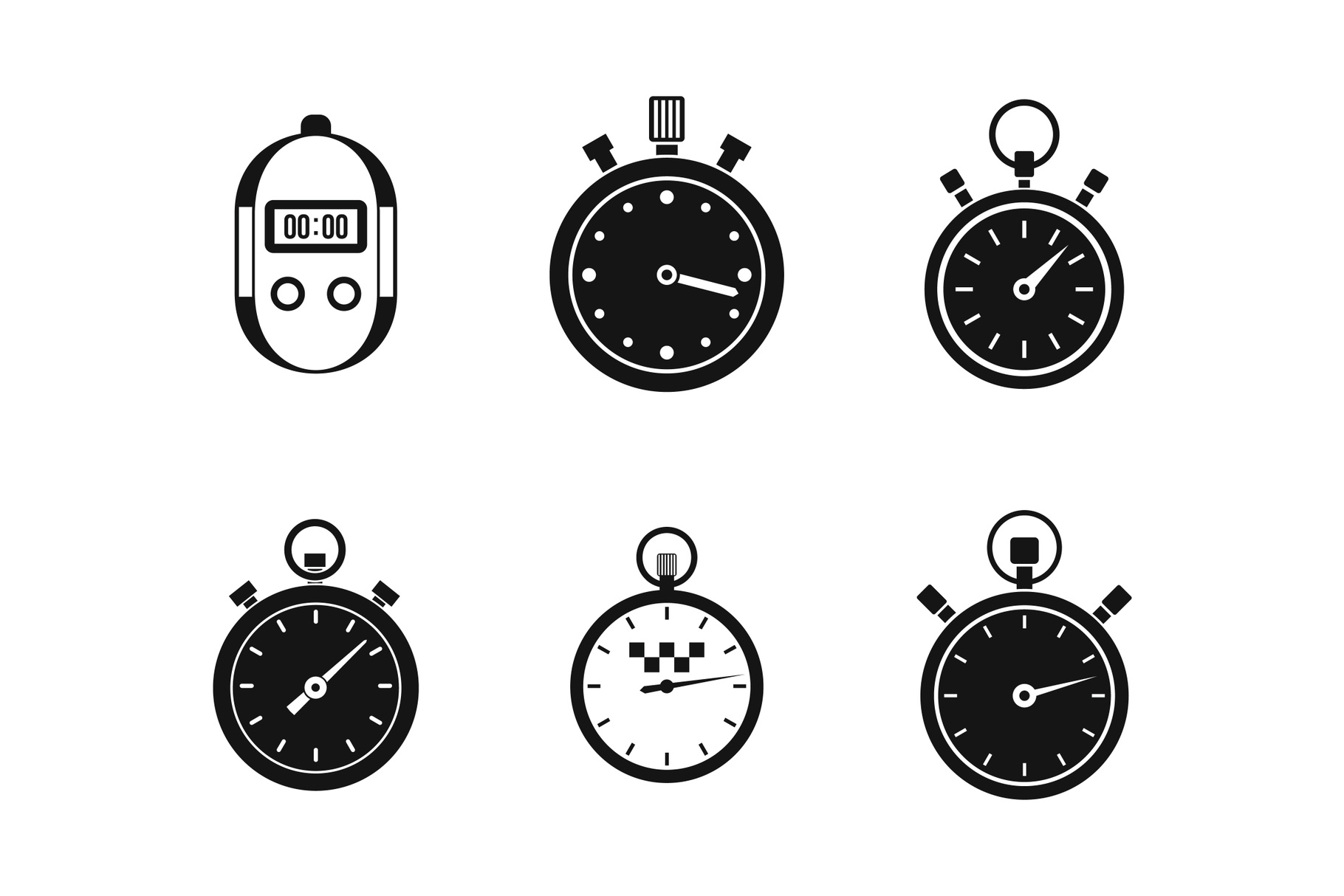 Stopwatch icon set, simple style example image 1