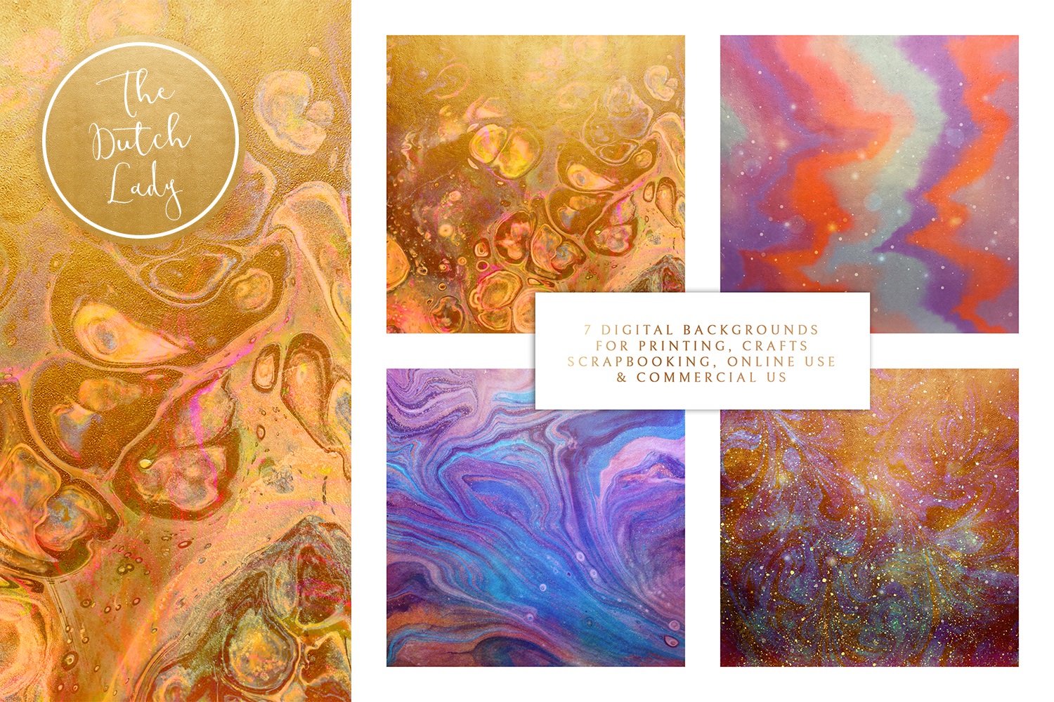 Digital Backgrounds & Papers - Oils & Marbles example image 2