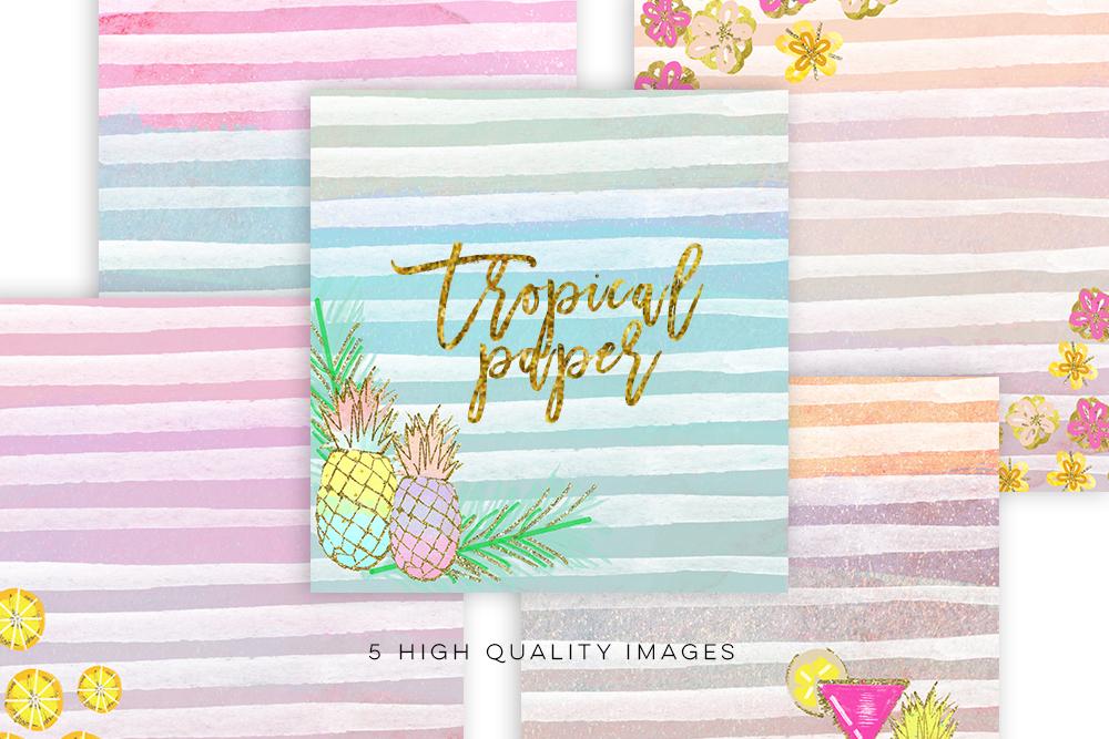Summer Digital Paper, Tropical paper, Watercolor paper, pineapple paper Digital Papers, Tropical Pineapple, summer pinneaple digital print example image 2