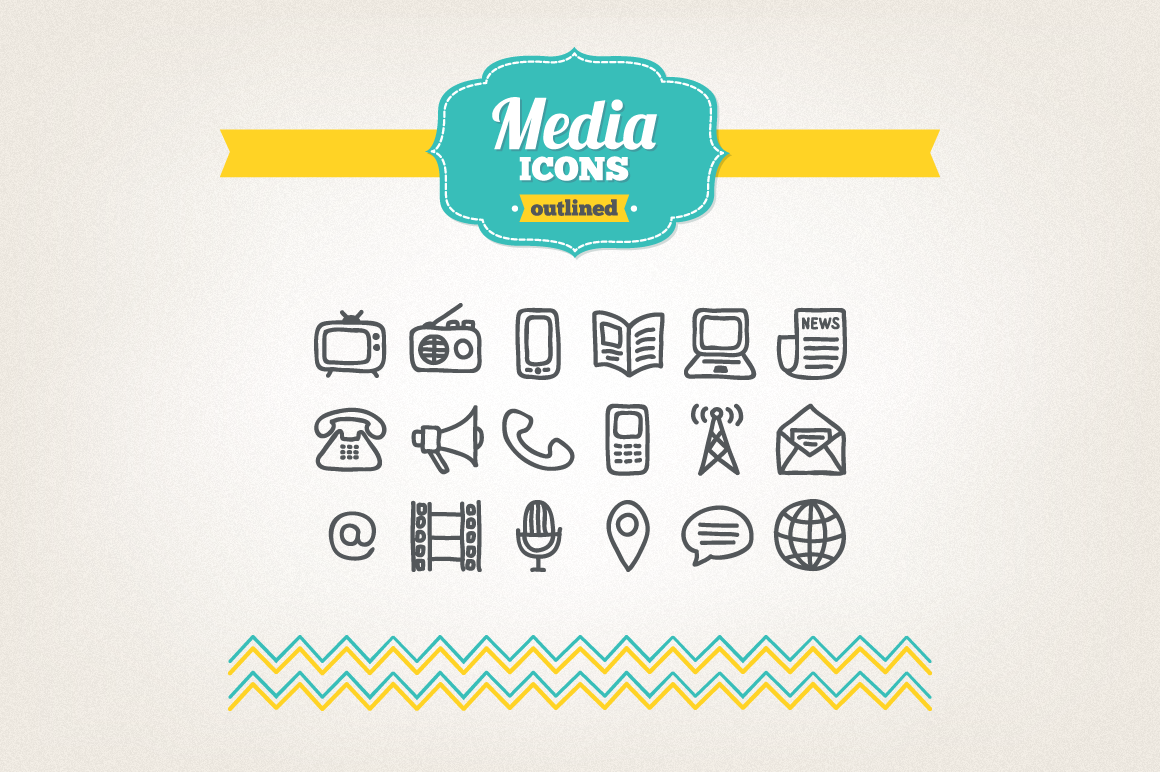 Hand Drawn Media Icons example image 1