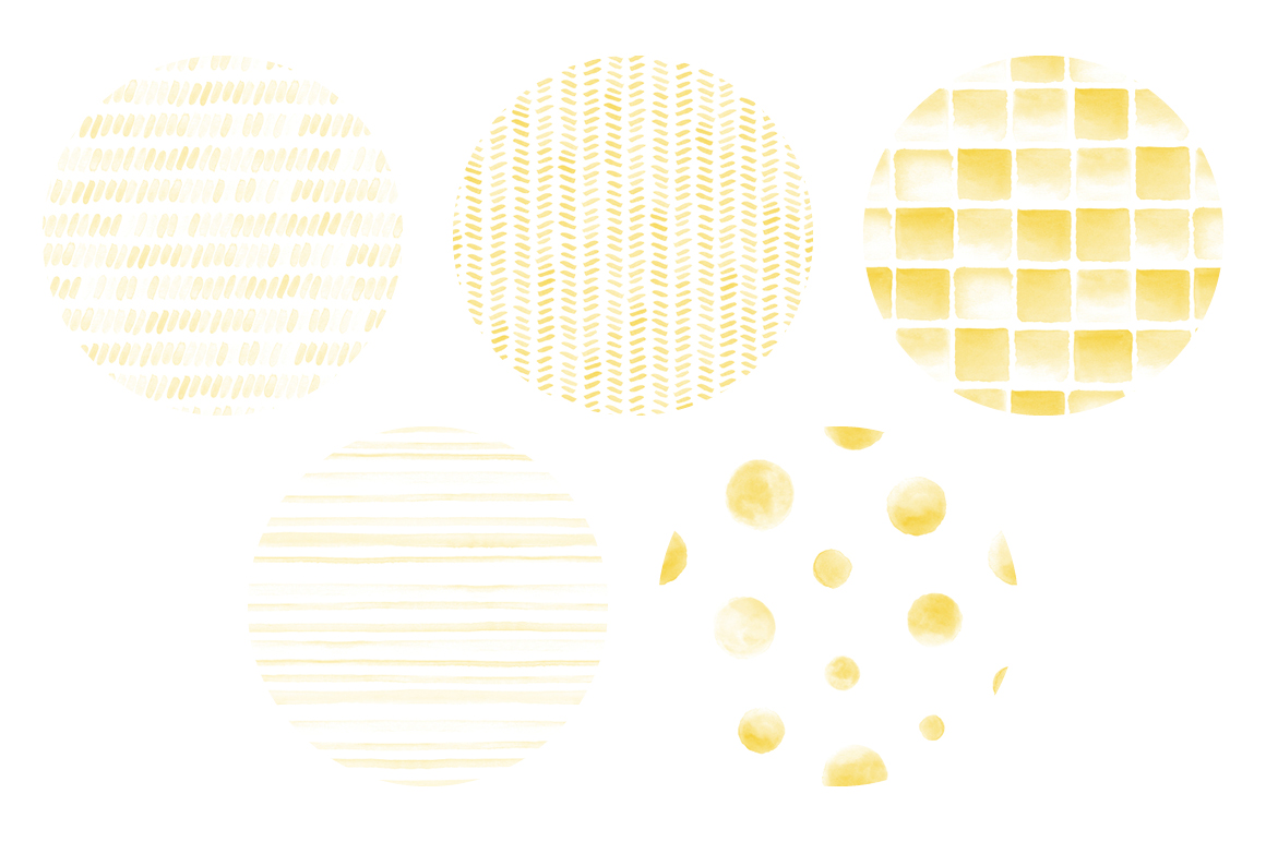 20 Seamless Watercolor Patterns Yellow example image 2