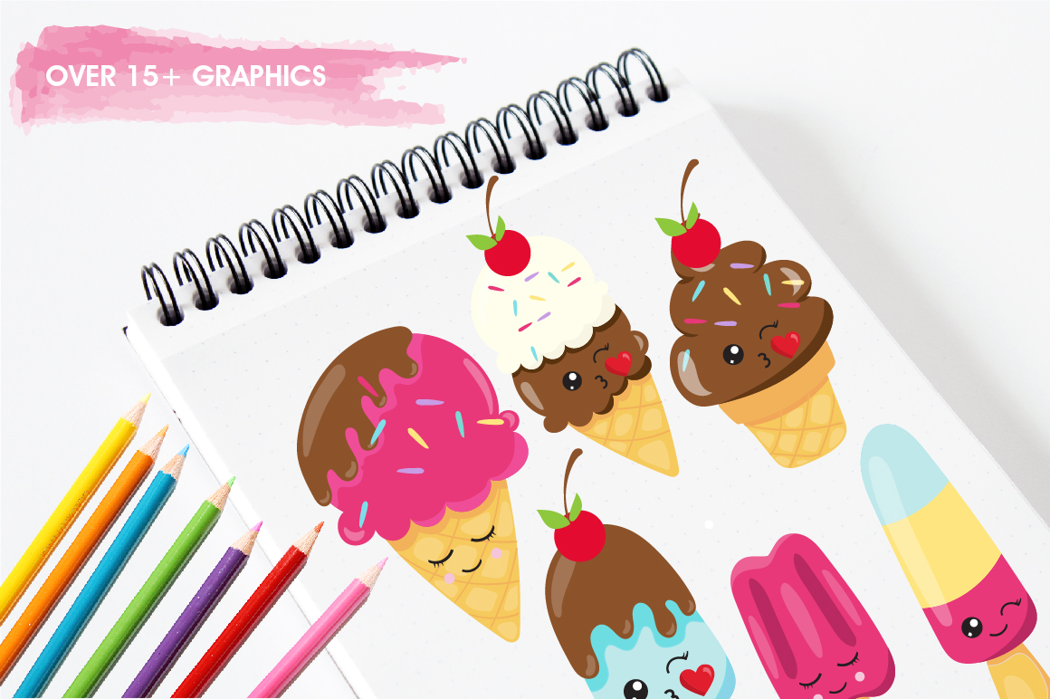 Cutie Ice cream graphics and illustrations example image 2