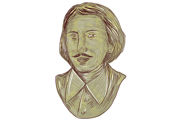 Christopher Marlowe Bust Drawing example image 1