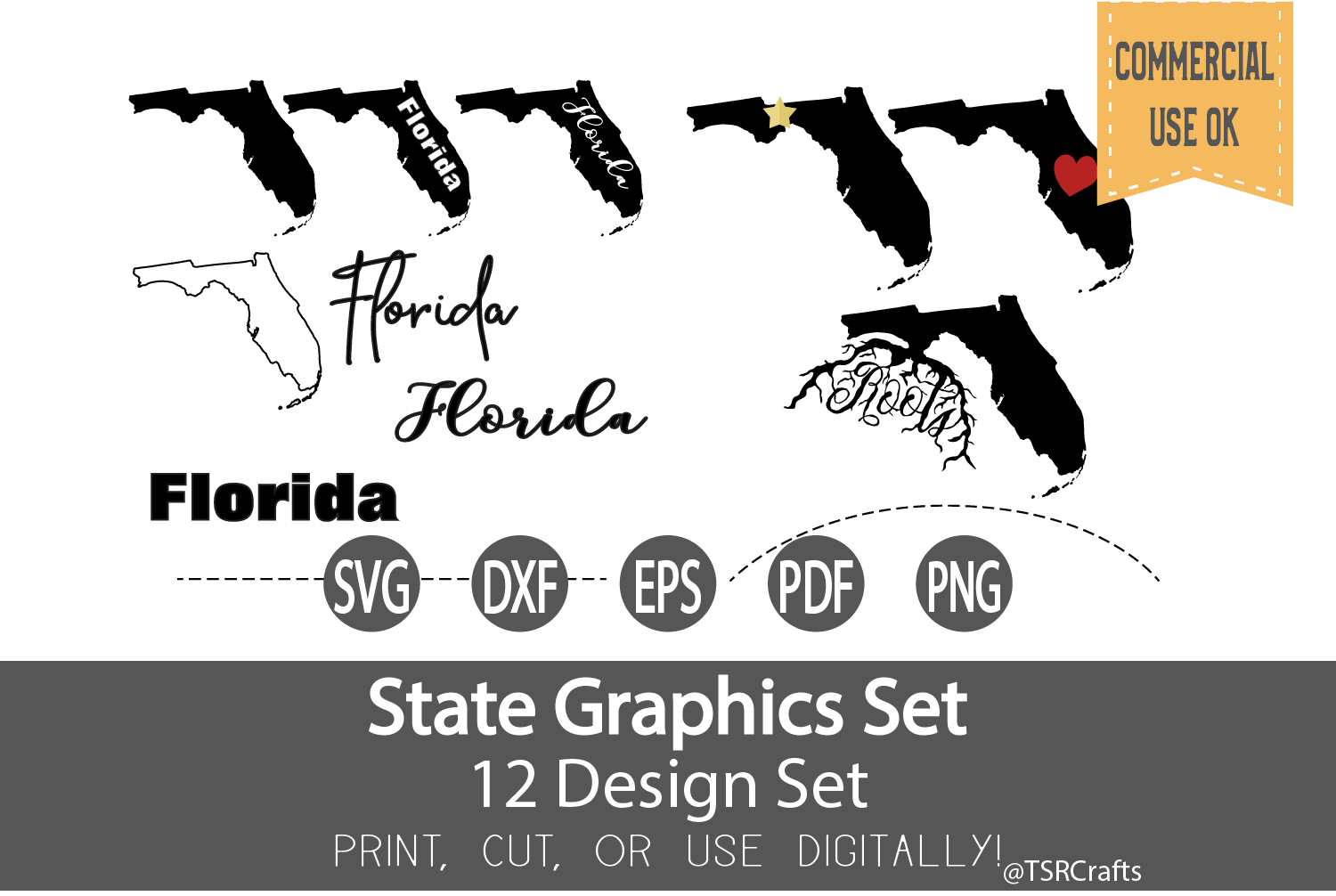 Florida State Graphics Set - Clip Art and Digital Cut fi example image 1