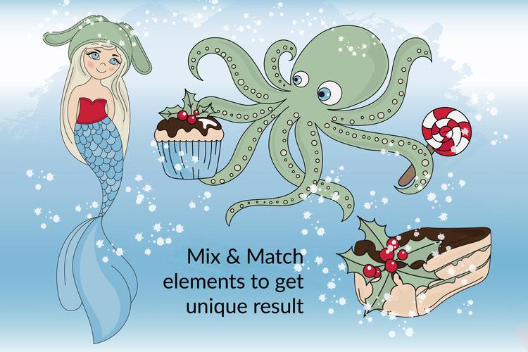 CHRISTMAS MERMAID Vector Illustration Set example image 8