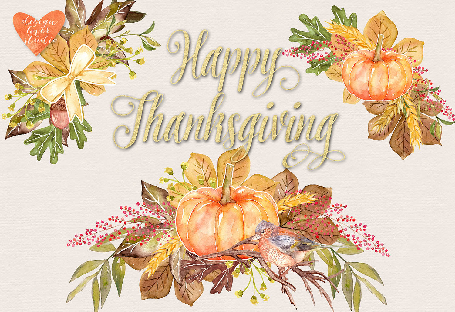 Watercolor Happy Thanksgiving cliparts example image 3