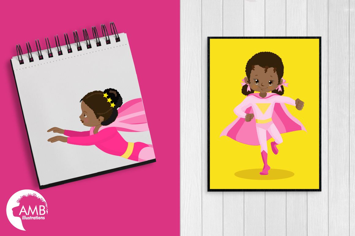 Superhero girls clipart, Dark skin tone, African American supergirls graphics, illustrations AMB-1801 example image 2