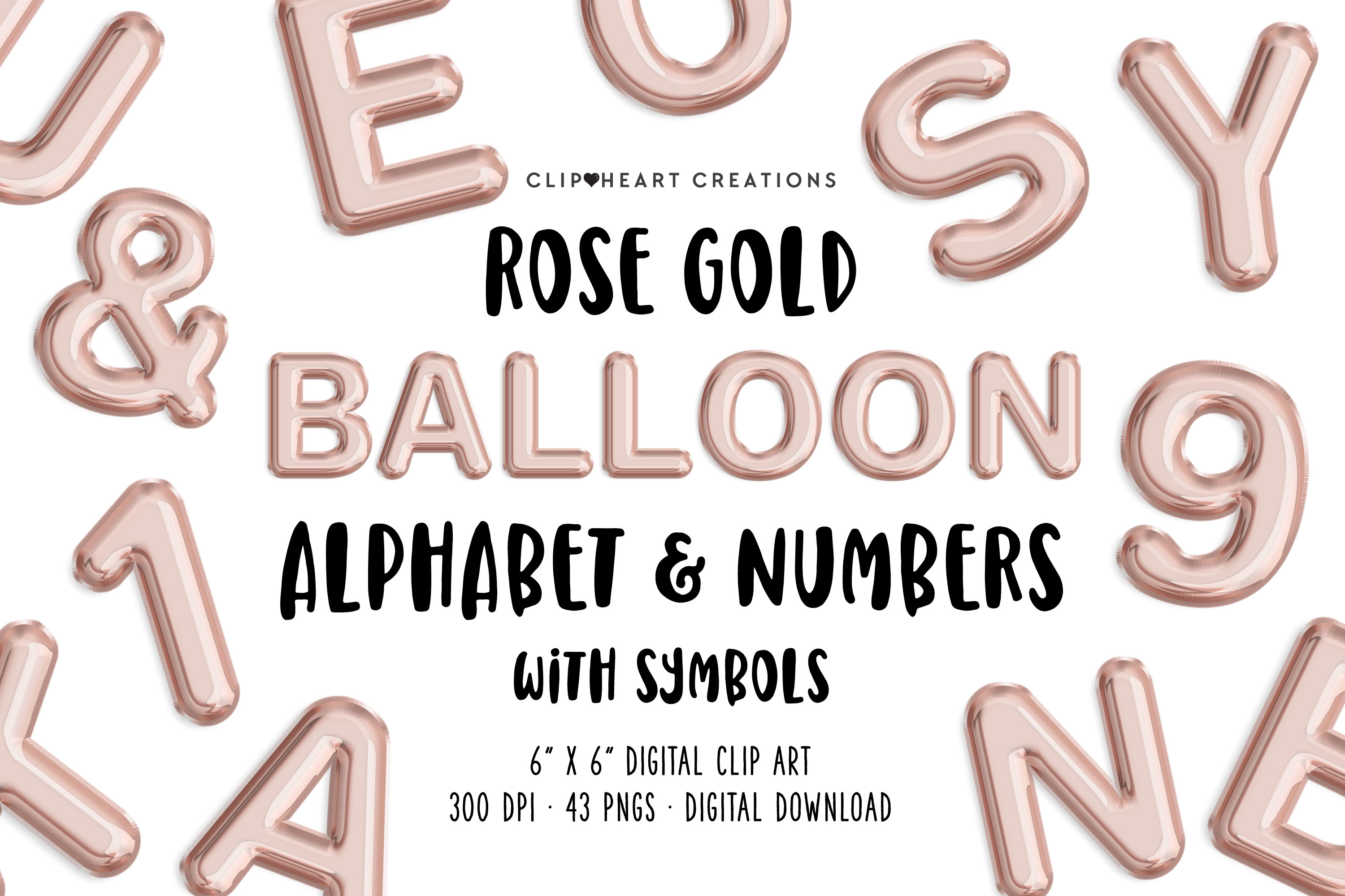 Rose Gold Foil Balloon Alphabet & Numbers example image 1