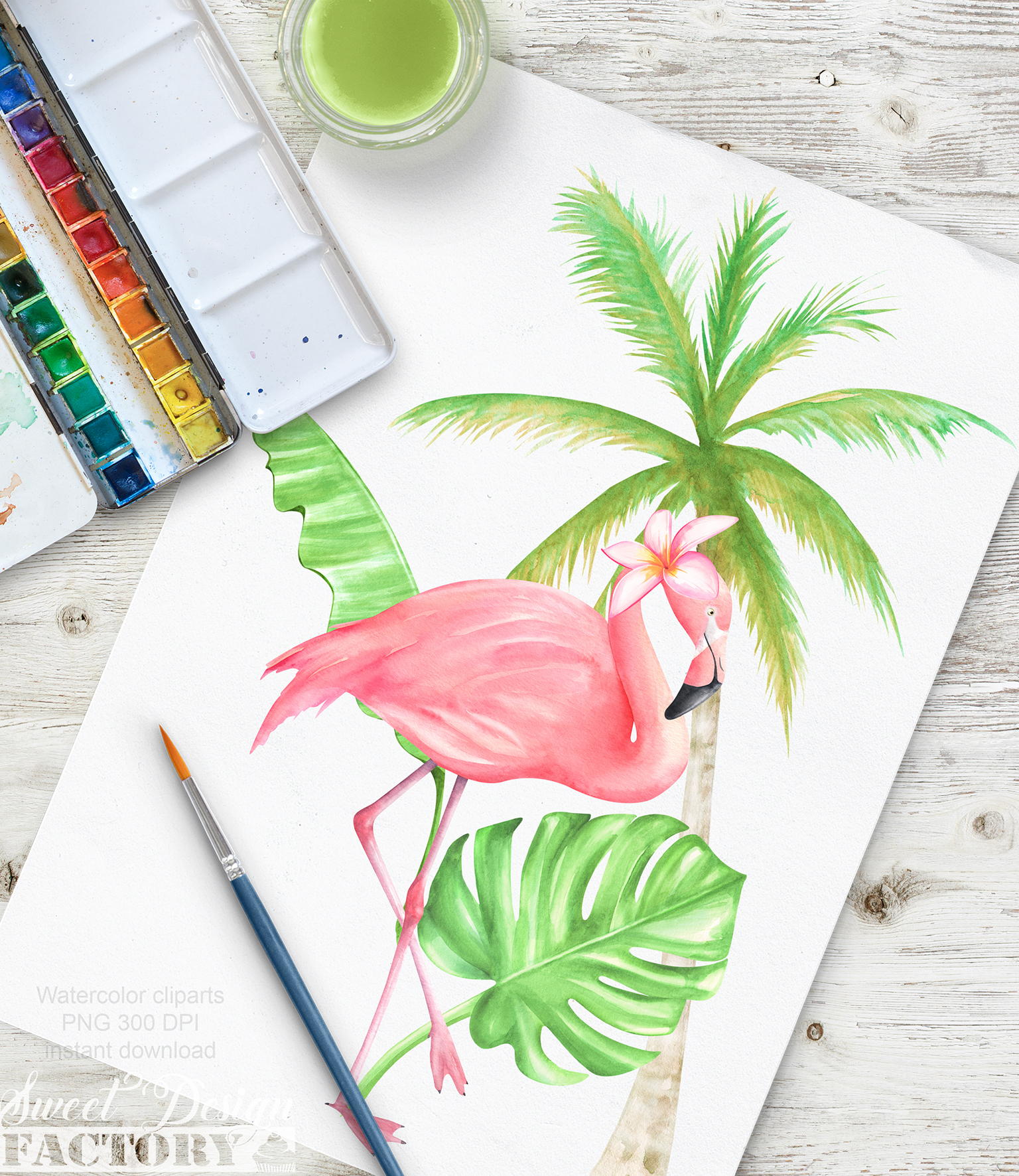 Watercolor flamingos and retro cars summer clipartS example image 7