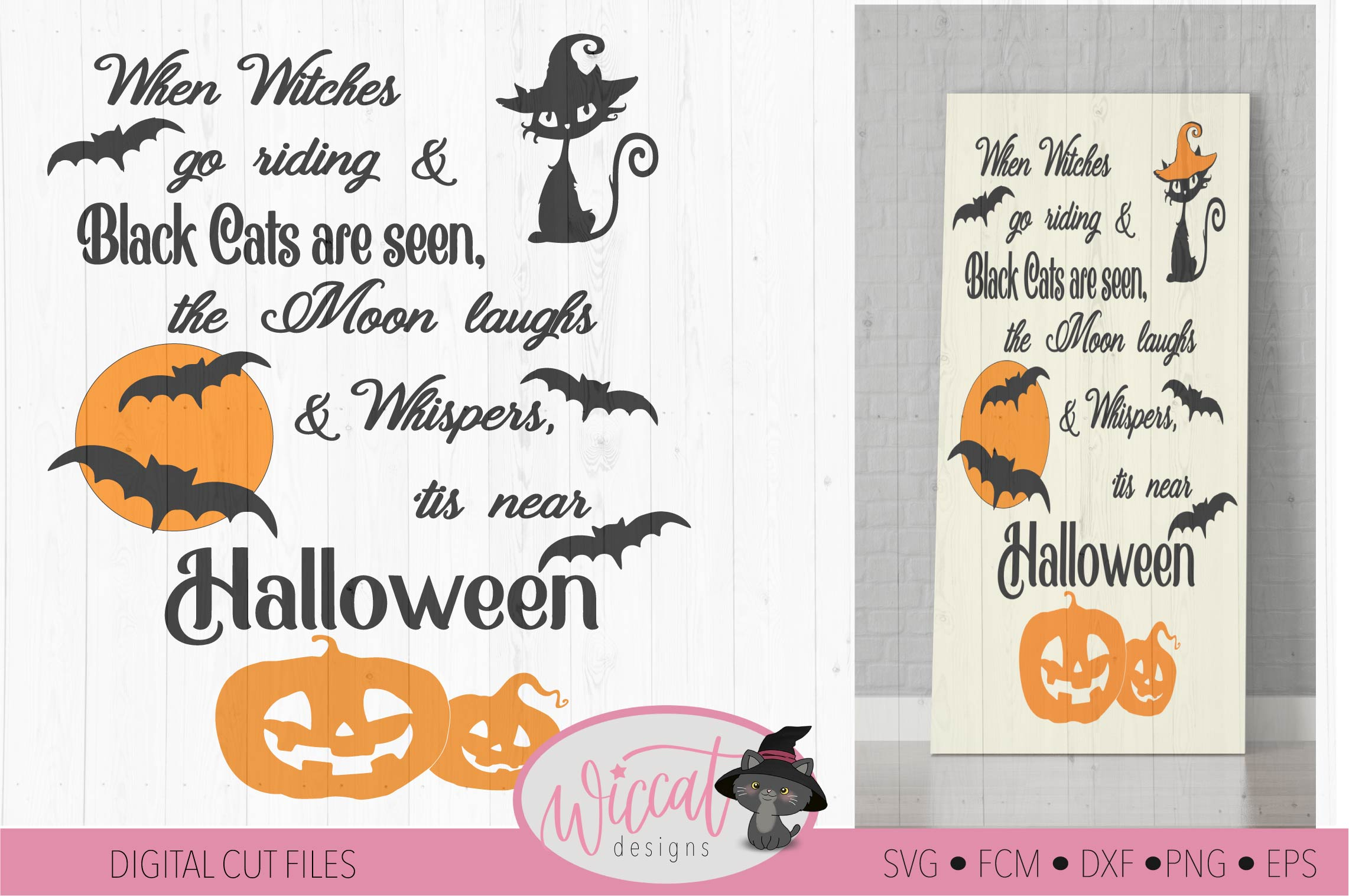 Halloween sign quote with cats, bats and pumpkin designs example image 1