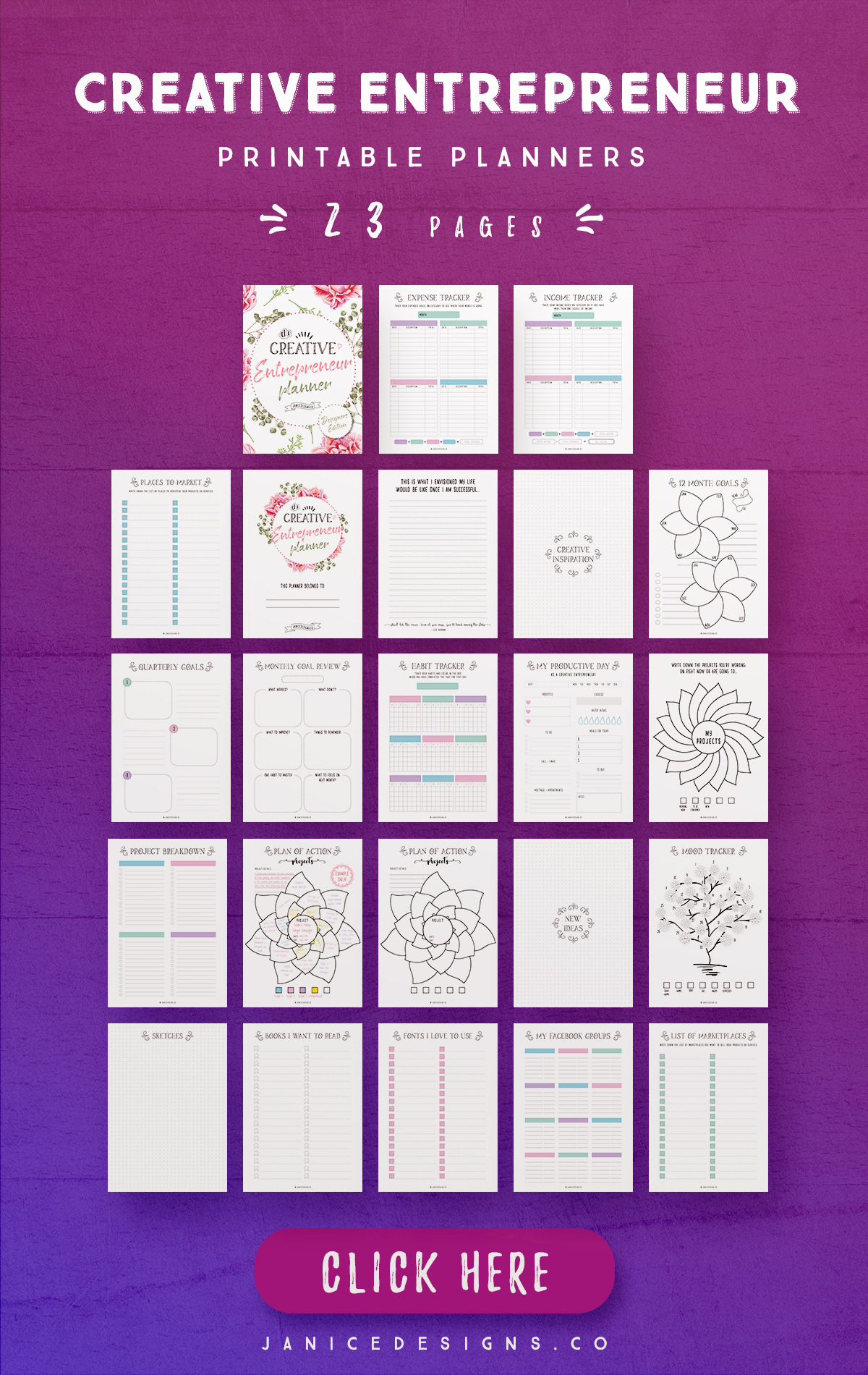 Creative Entrepreneur Printable Planners - 23 Pages example image 4