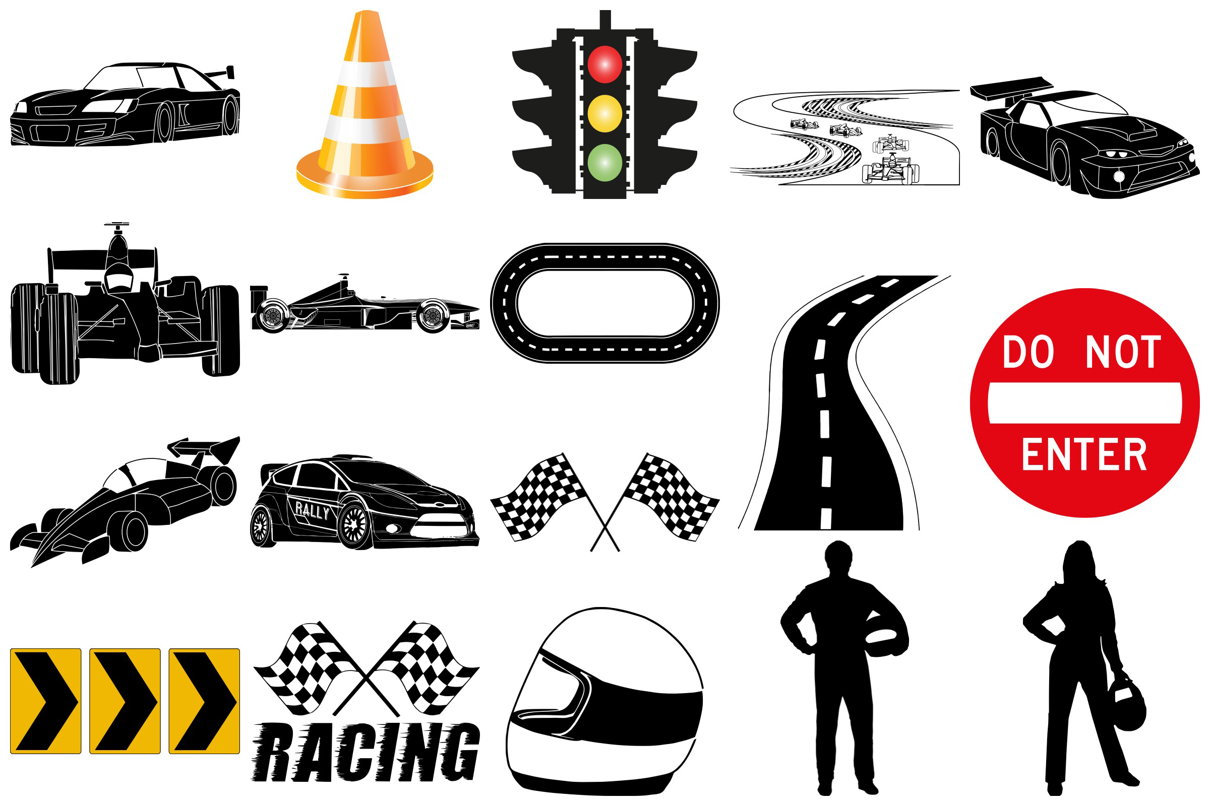 Racing, Racecars & Elements, Vector AI EPS and Png example image 2