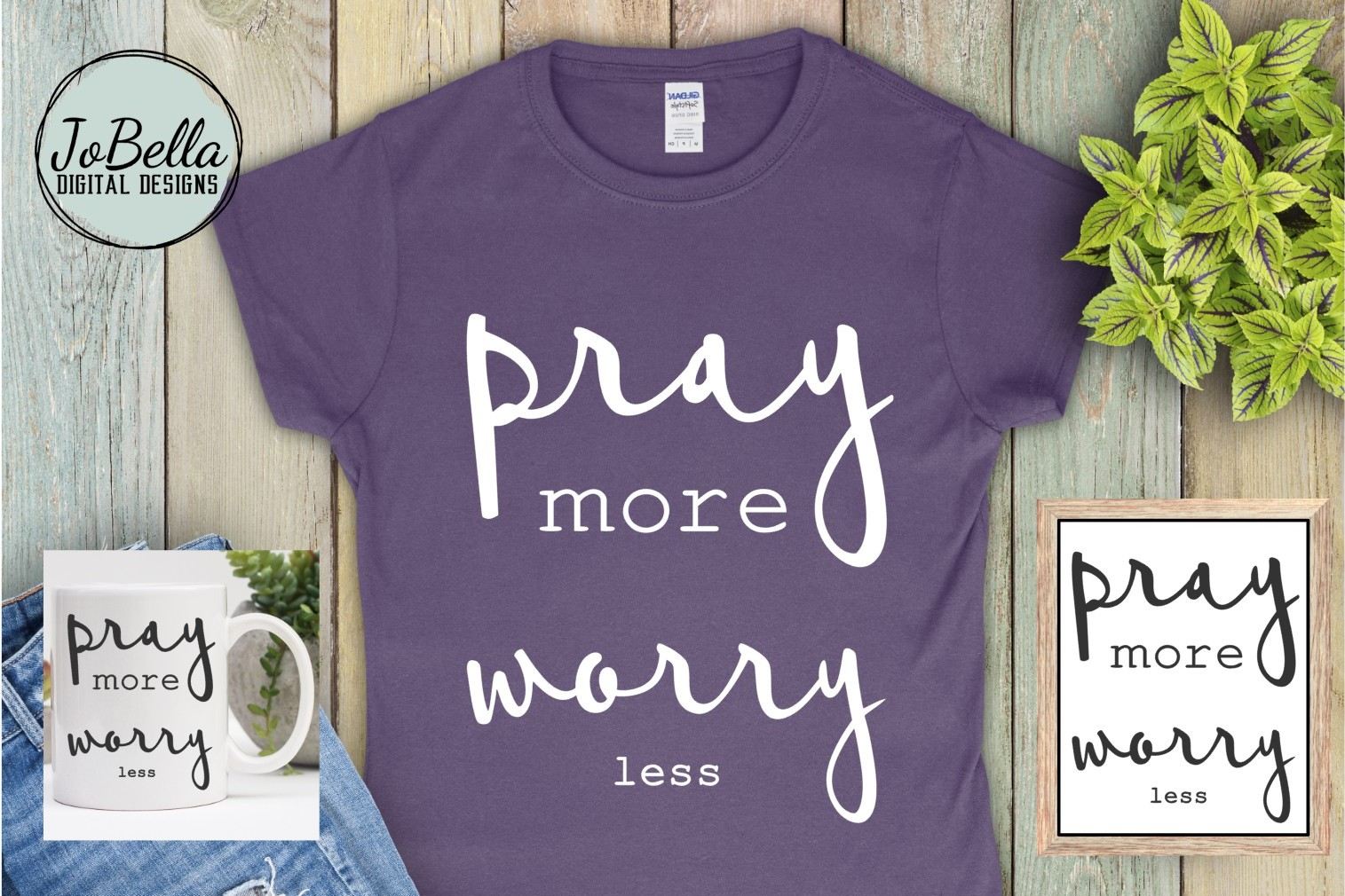 Pray More Worry Less SVG and Printable Christian Design example image 2