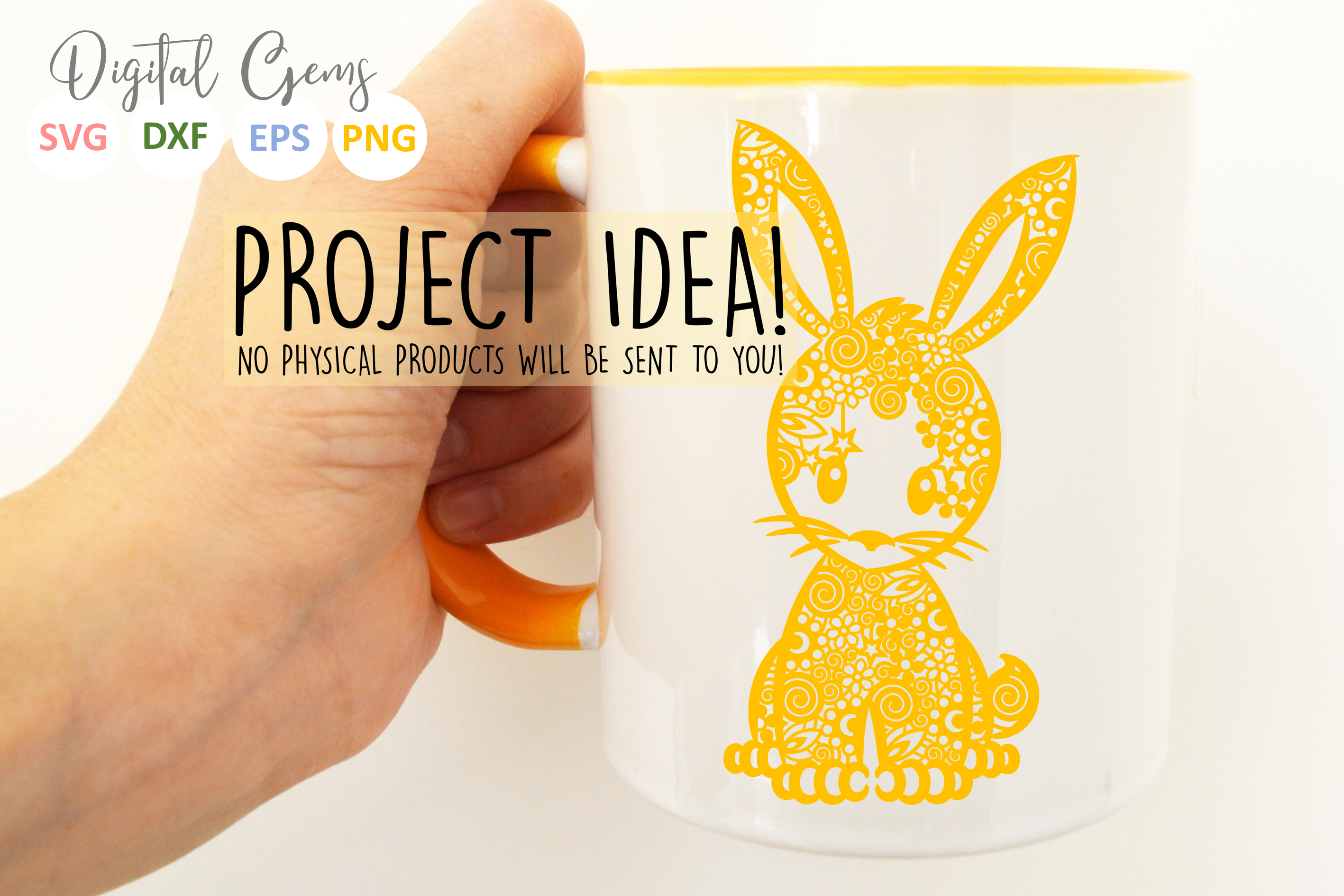 Bunny Rabbit paper cut SVG / DXF / EPS / PNG files example image 3