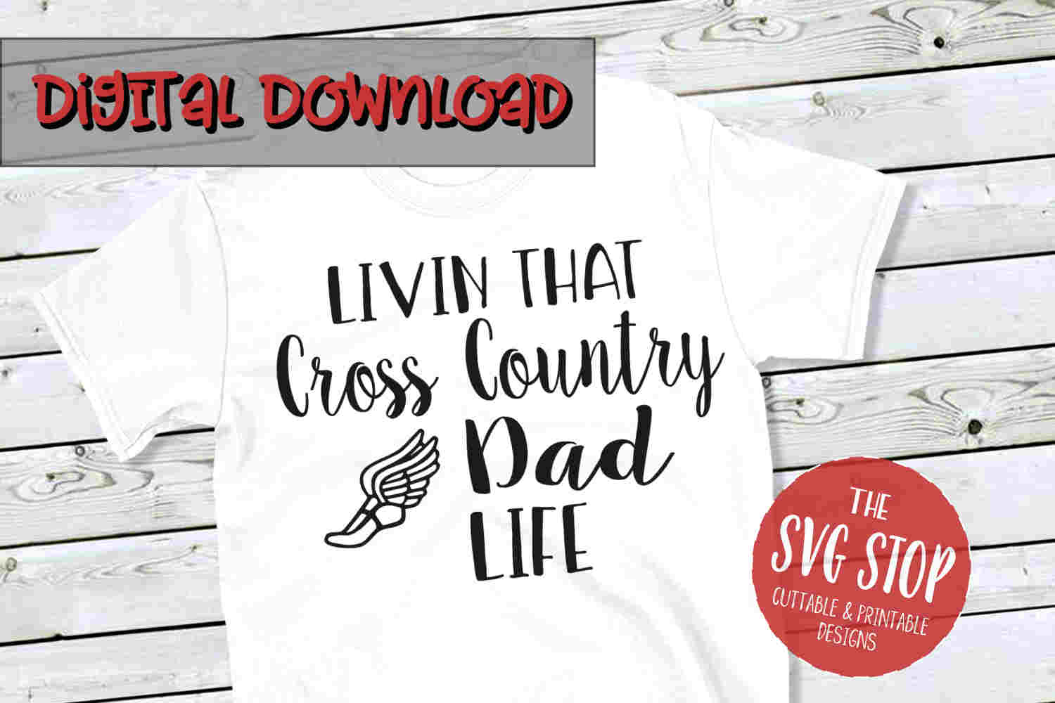 Cross Country Dad Life -SVG, PNG, DXF example image 1