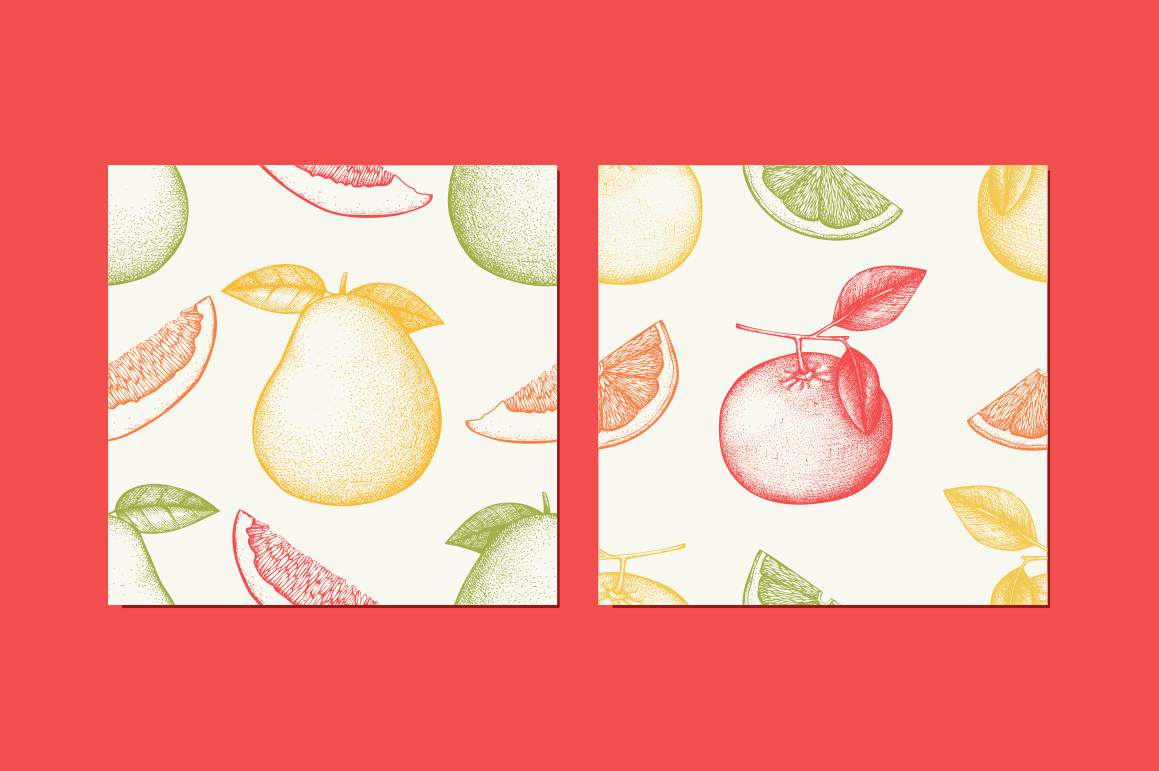 6 Seamless Citrus Fruits Pattern example image 4