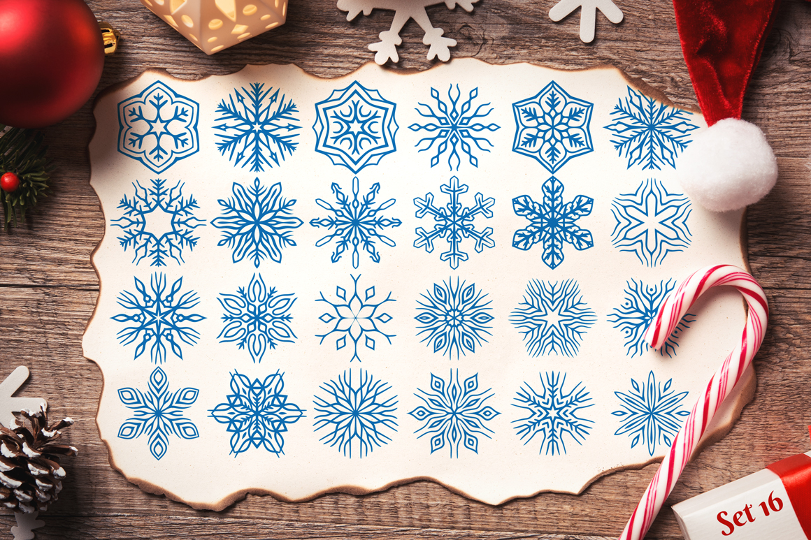 500 Snowflake Vector Ornaments example image 25