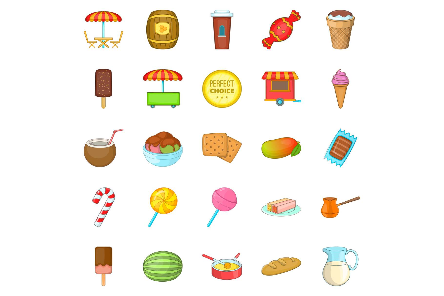 Candy icons set, cartoon style example image 1