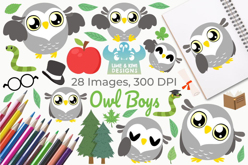 Owl Boys Clipart, Instant Download Vector Art example image 1