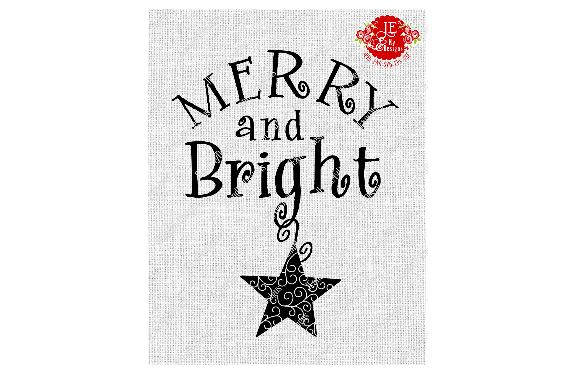 Merry and Bright SVG, JPEG, PNG, EPS, DXF example image 2