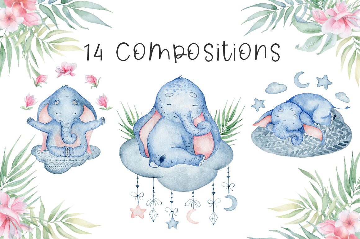 Lovely Elephants Watercolor set animals clipart example image 5