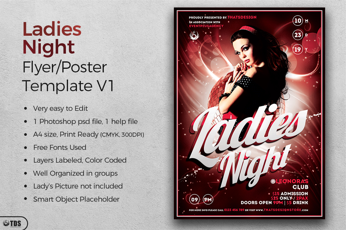 Ladies Night Flyer template V1 example image 2