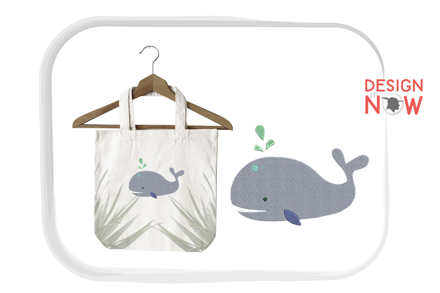Whale Embroidery Design, Fish Embroidery Design, Sea example image 2
