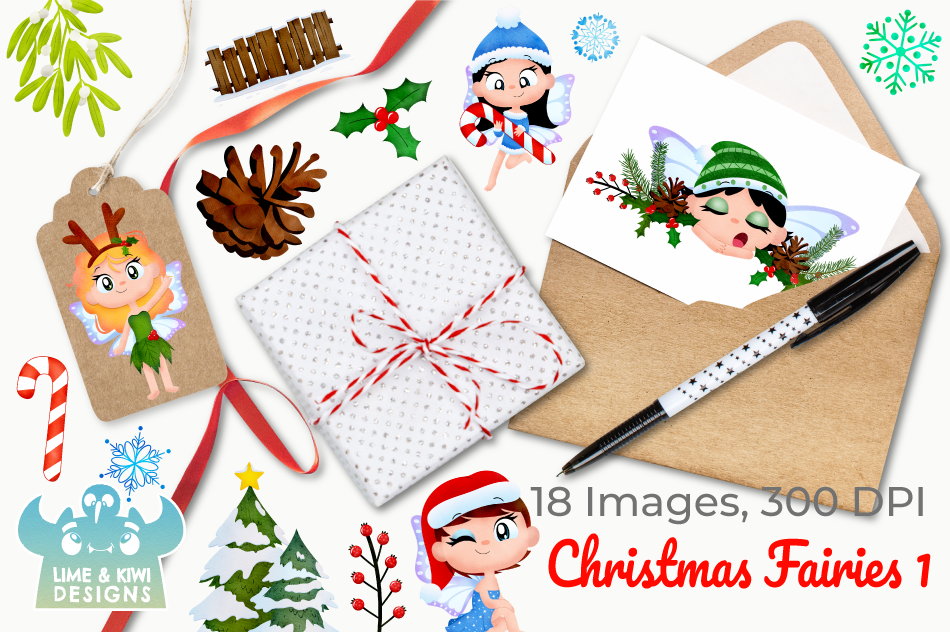 Christmas Fairies 1 Watercolor Clipart, Instant Download example image 4