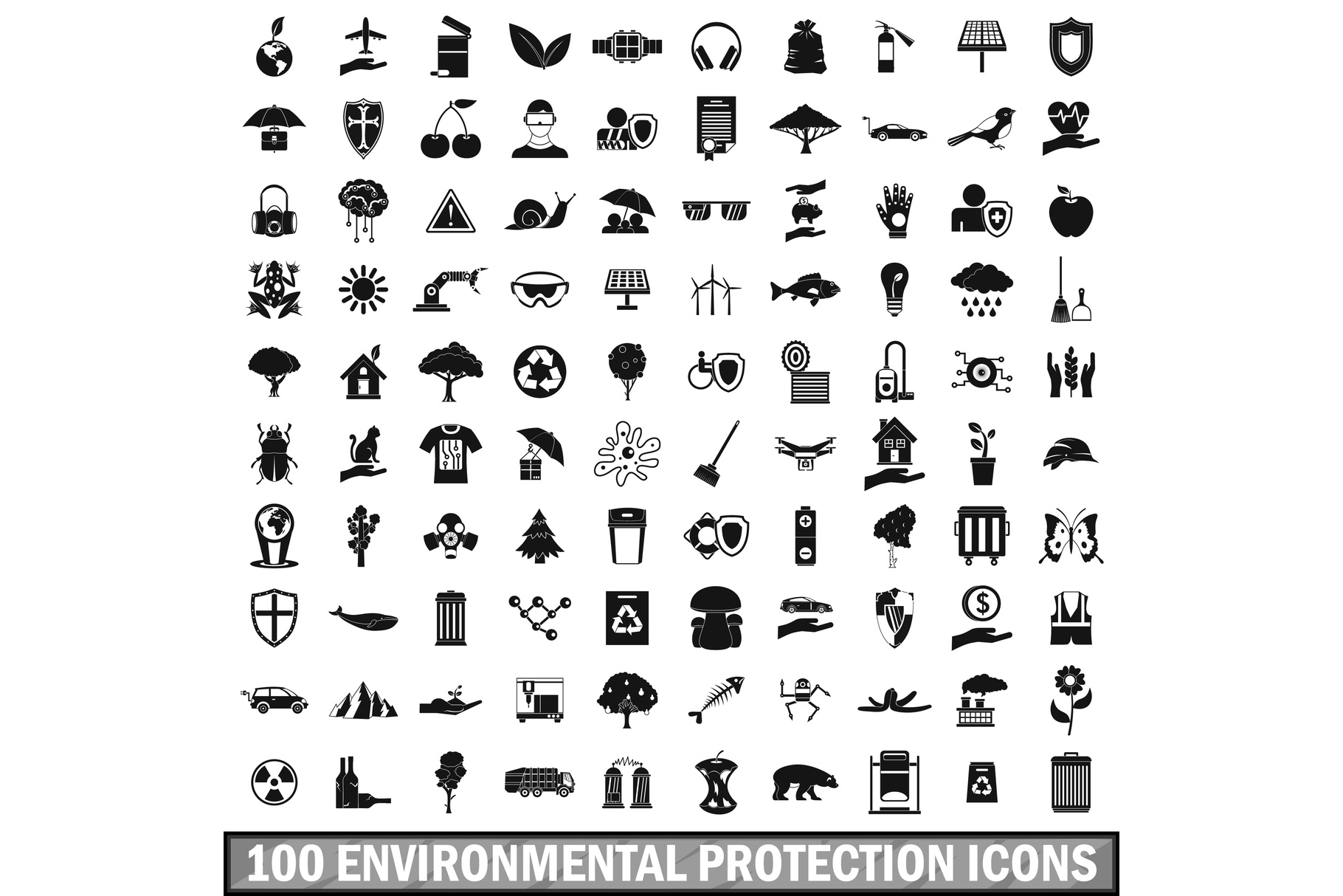 100 environmental protection icons set example image 1