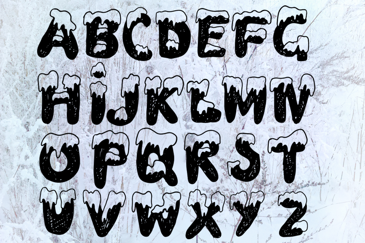 Handdrawn snowy display font example image 3