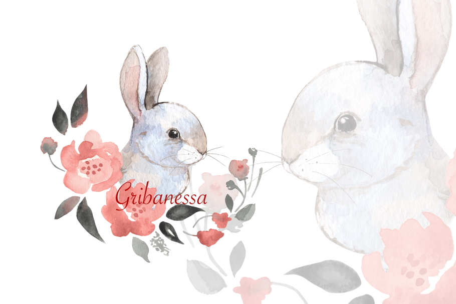Rabbit and flowers example image 1