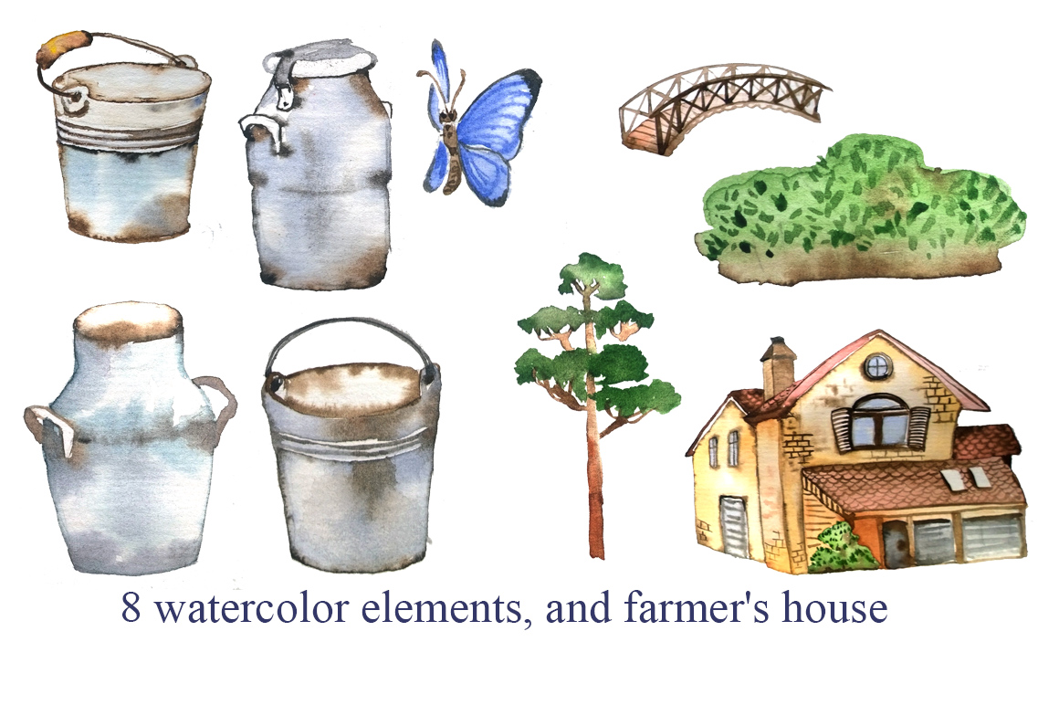 Dairy farm - set of watercolor example image 4