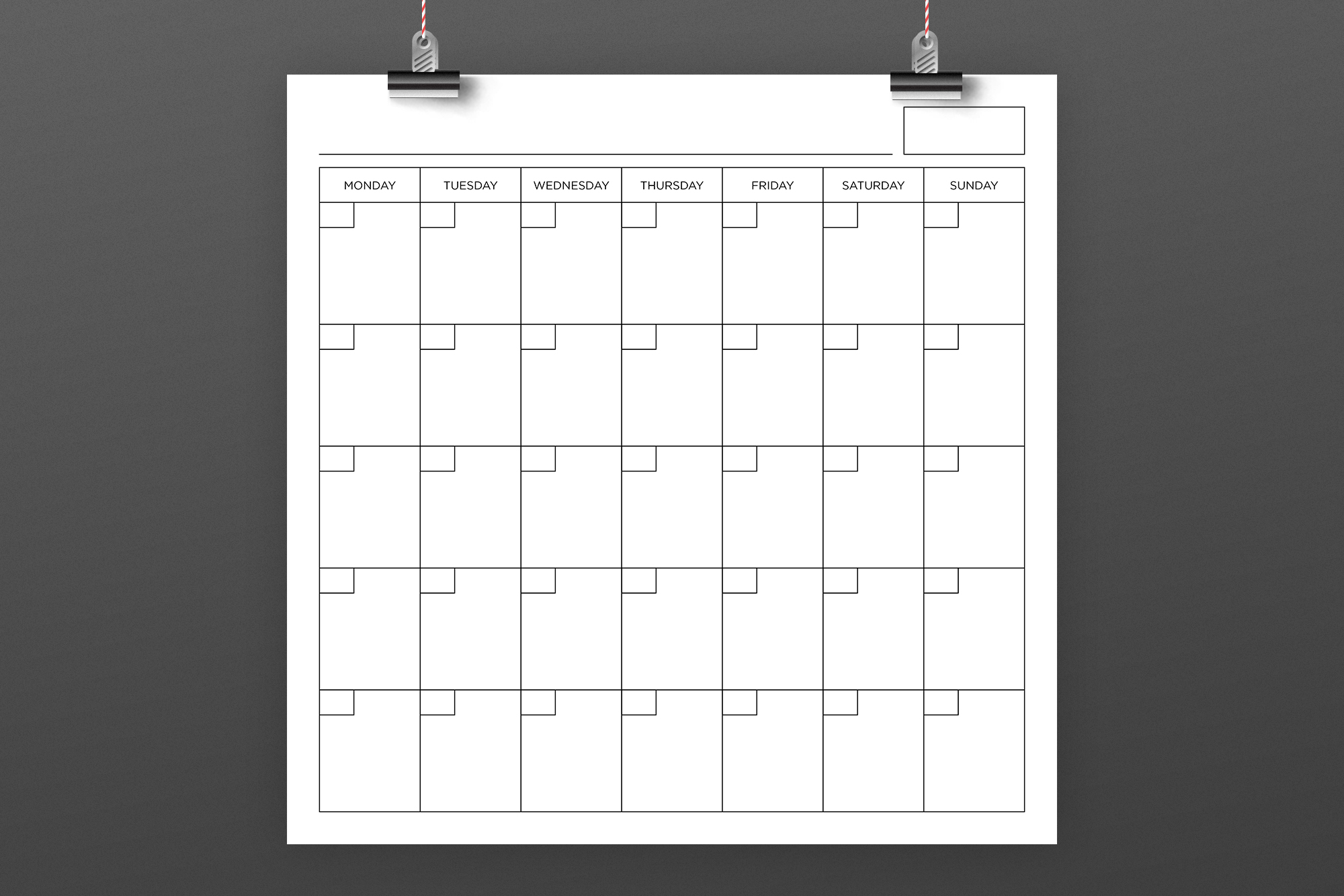 Blank Calendar Page Template Set example image 8