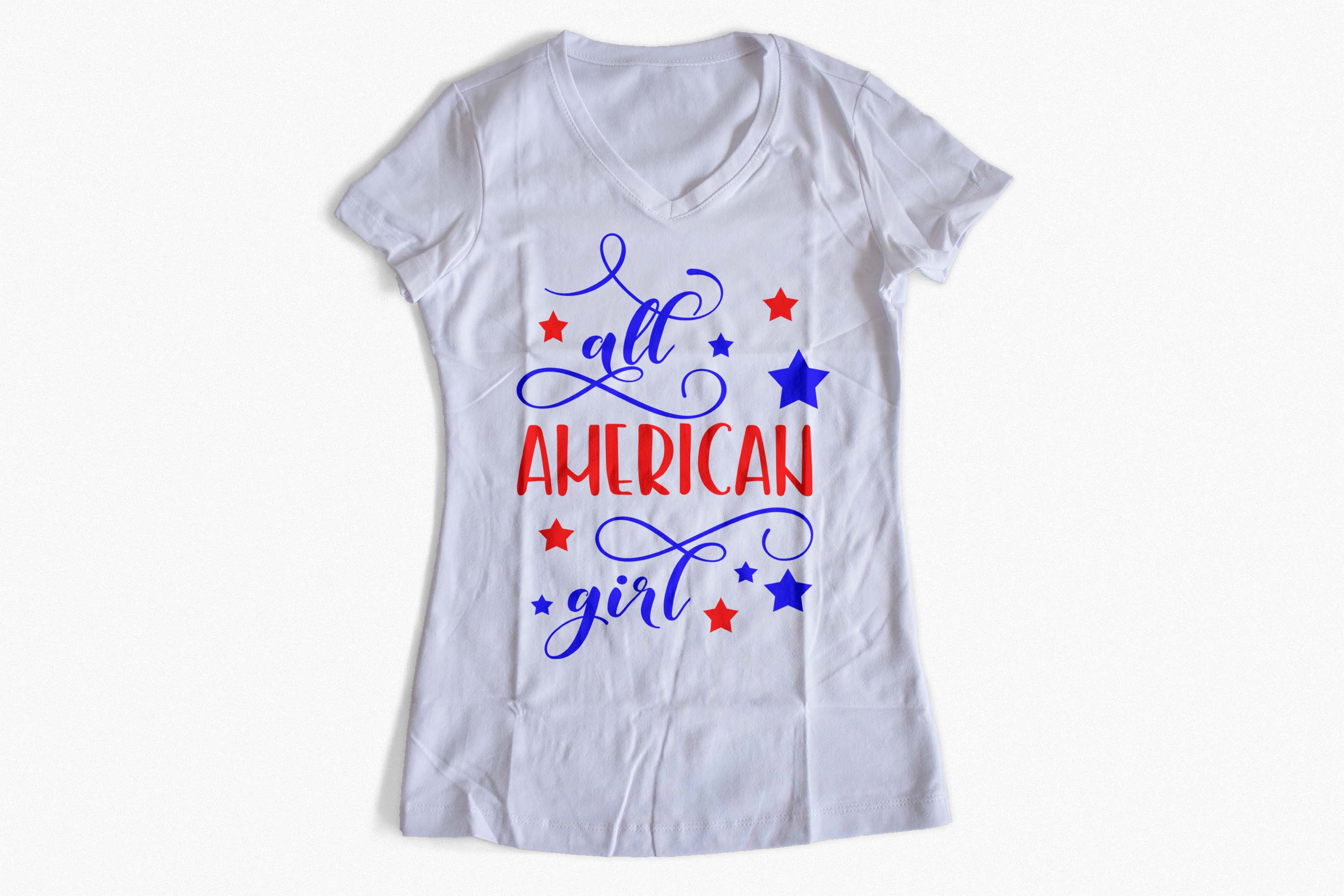 All American girl SVG PNG EPS DXF, Stars svg design example image 3