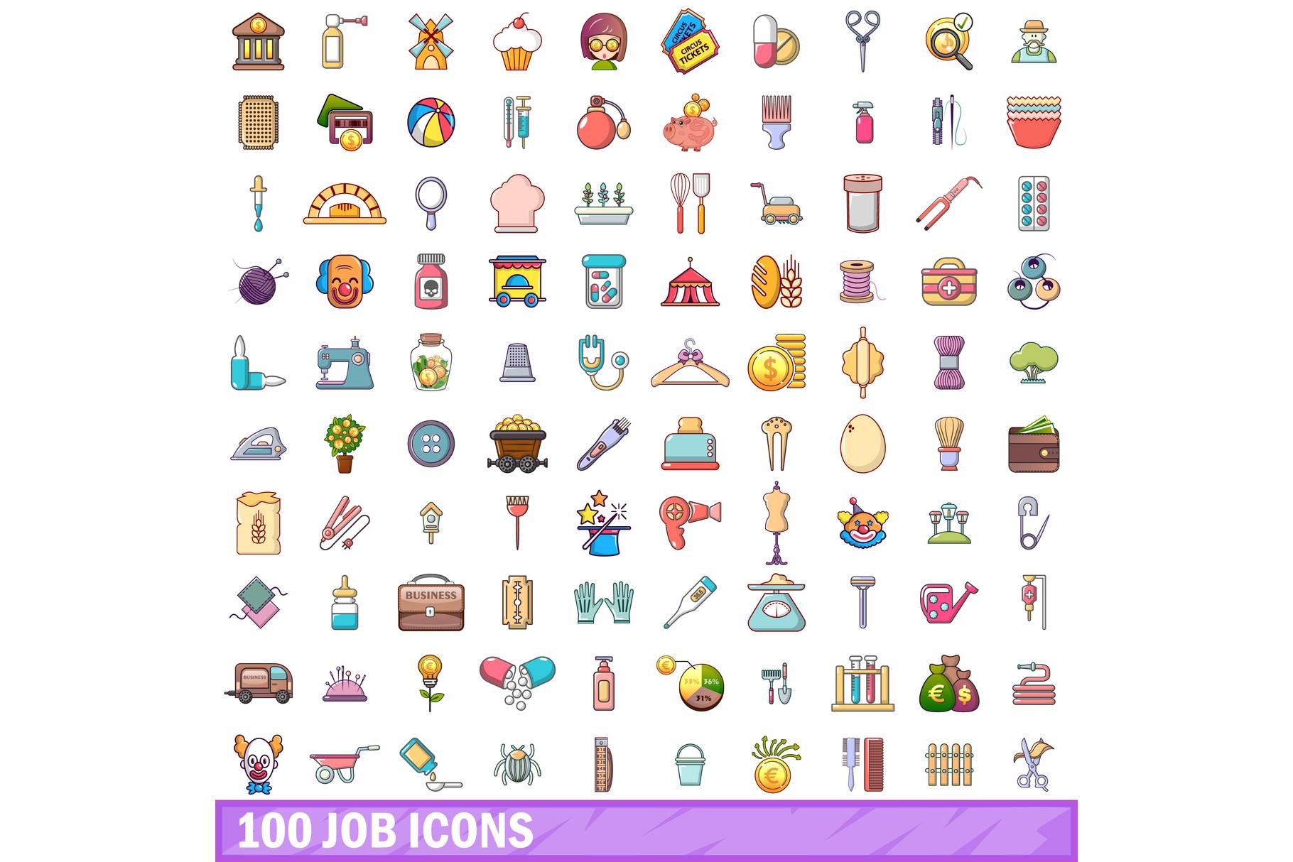 100 job icons set, cartoon style example image 1