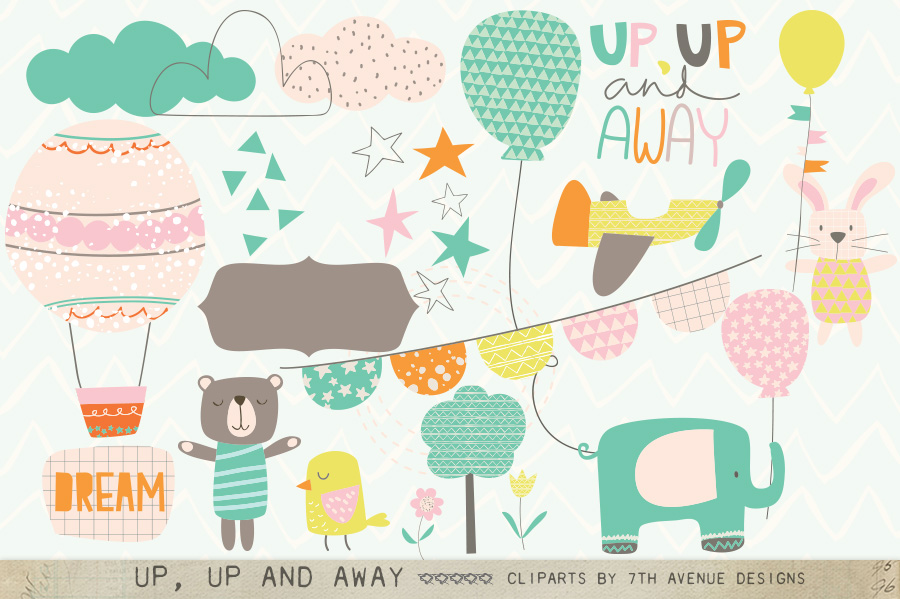 Up, Up and Away Cliparts example image 1