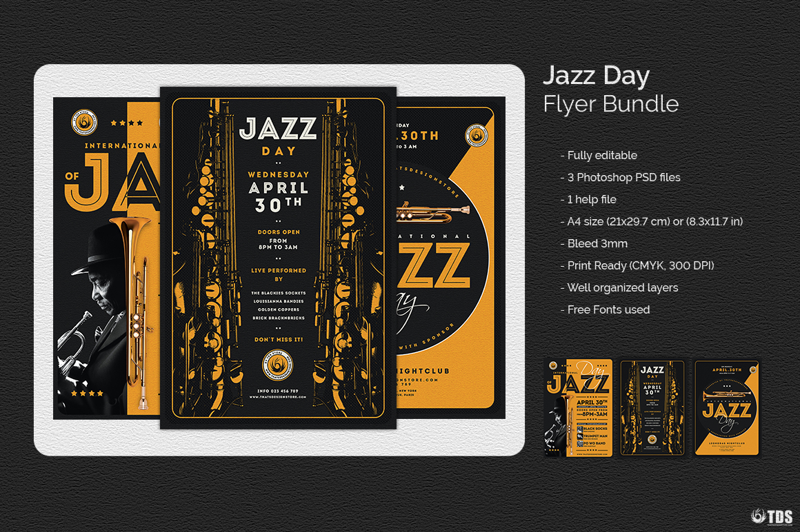 Jazz Day Flyer Bundle example image 2