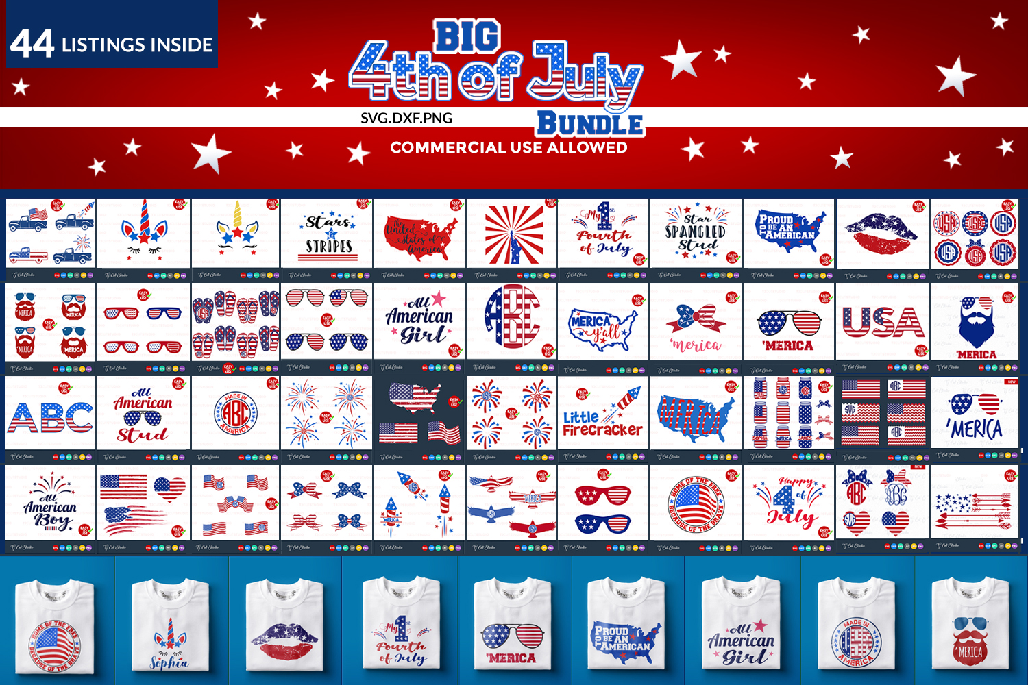 4th of july svg bundle. example image 1