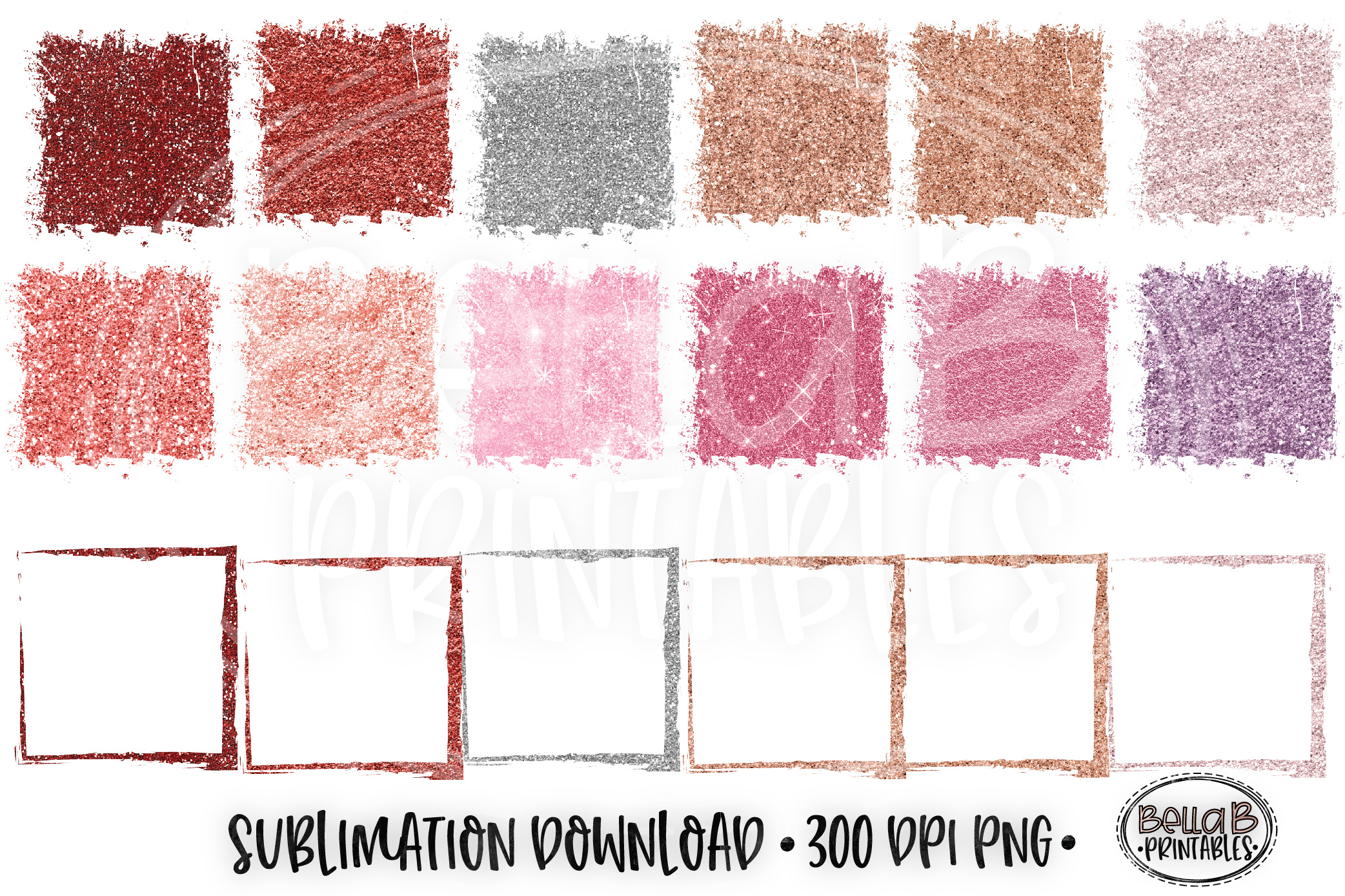 Valentines Glitter Sublimation Background Bundle, Frames example image 2