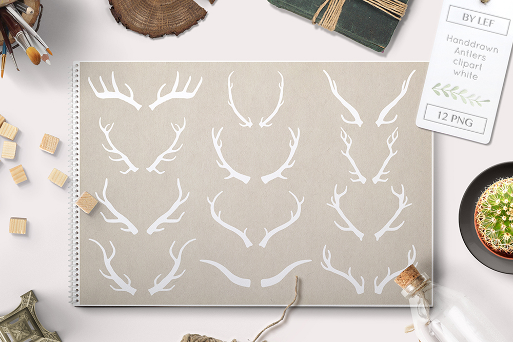 white antlers clipart PNG example image 1