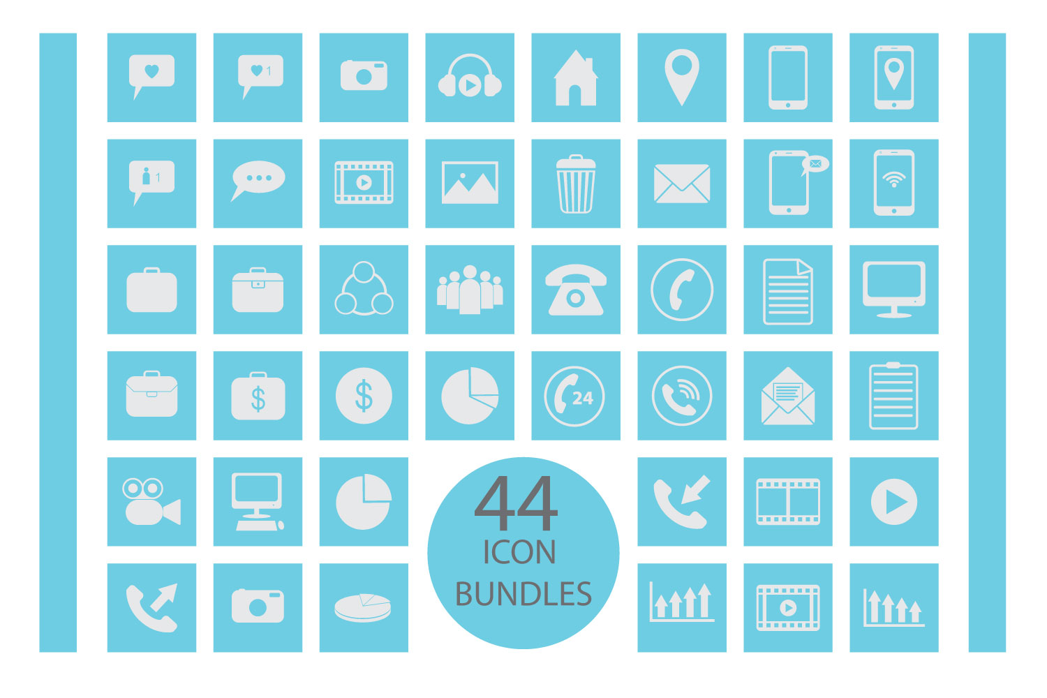 flat icon bundles vector pack example image 1