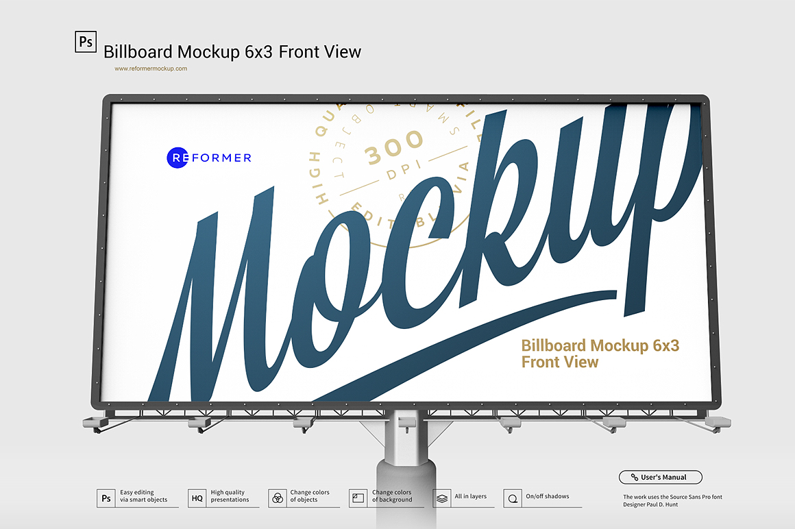 Billboard Mockup 6x3 Front View example image 1