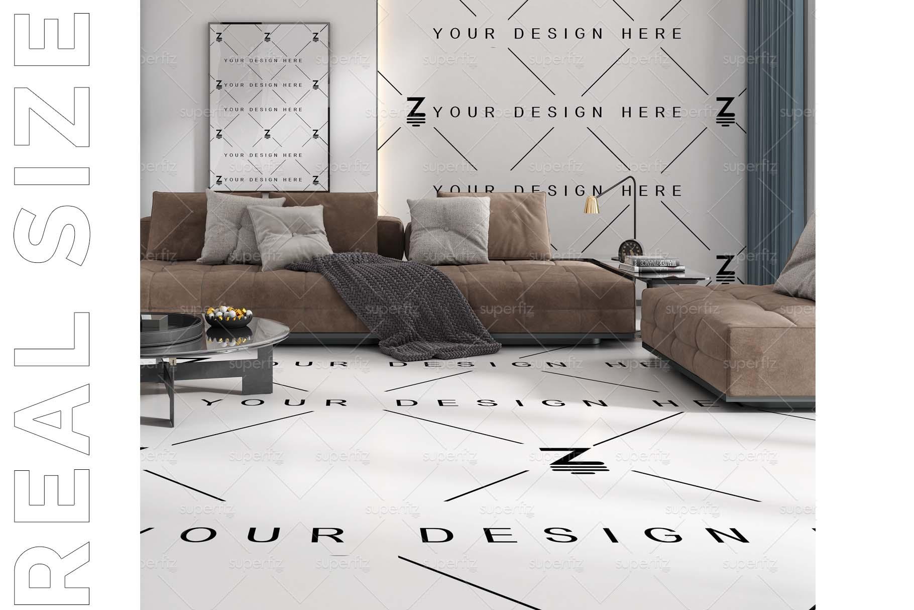 Blank Floor and Wall PSD Mockup Livingroom SM75 example image 4