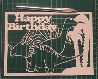 Happy birthday Dinosaurs papercutting templates example image 2