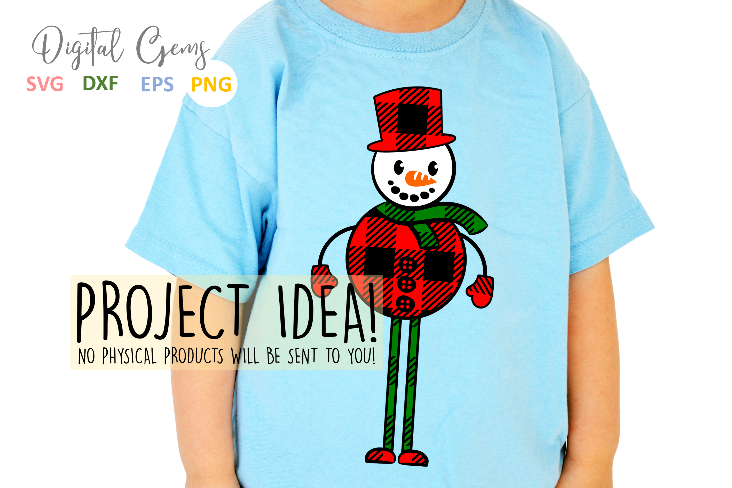 Plaid Snowman SVG / PNG / EPS / DXF files example image 4